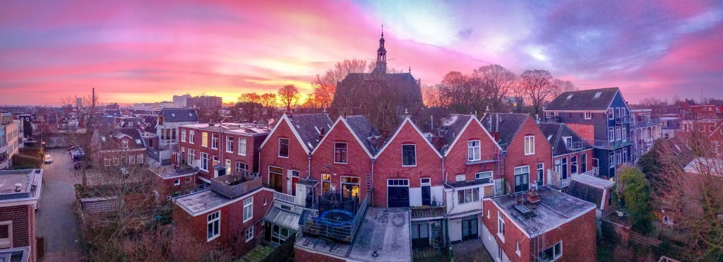 Sunrise from my rooftop in Groningen.